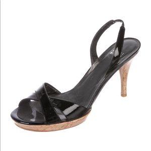 STUART WEITZMAN Patent Leather Slingback Sandals